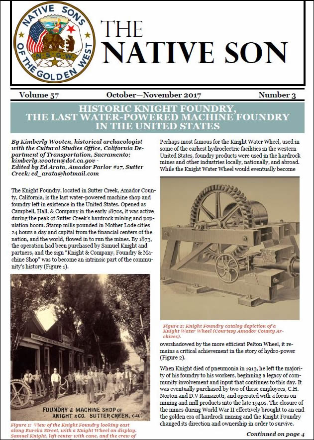 native son of the golden west newsletter features knight foundry