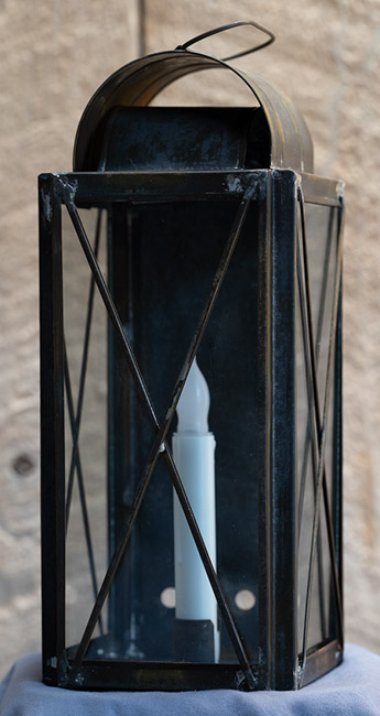 knight foundry handmade lantern with candle inside